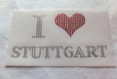 Bügelbild Strass I Love STUTTGART 110912