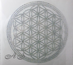 Hotfix Strass Bügelbild Blume des Lebens Yoga 140115 AB Crystal