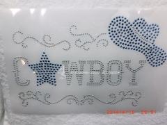 Hotfix Bügelmotiv Applikation CountryCowboy Blau Silver Metallstuds 140305