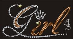 Hotfix Strass Schrift GIRL Dome Gold 110405-11da