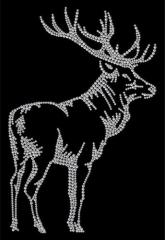 Hotfix Bügelbild toller natürlicher Hirsch rechts Strass Tracht Jagd Janker crystal 140102